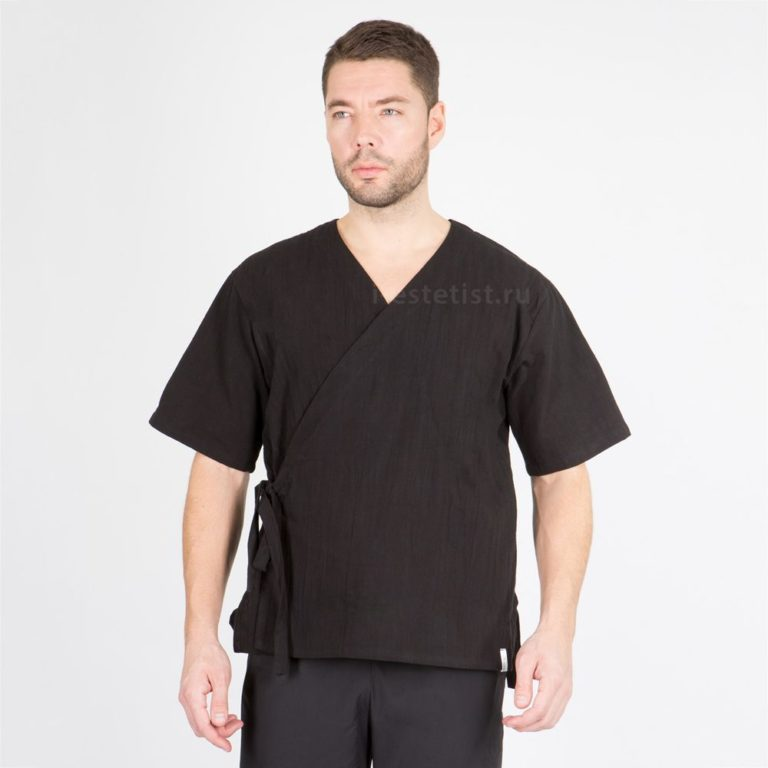 Блуза мужская чёрная (хлопок)