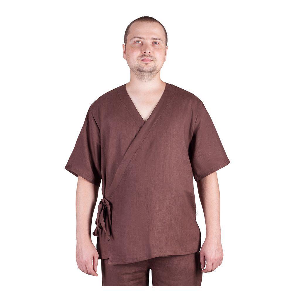 Блуза мужская на запахе (лён)